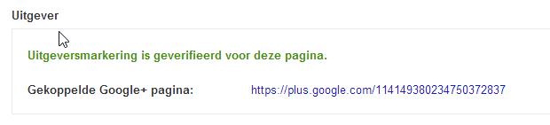 Google+ koppeling geverifieerd door Google Rich Snippet tool