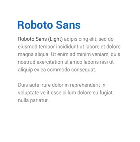 Lettertype Roboto Sans en Roboto Sans (Light)