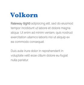 Lettertype Volkorn en Raleway (Light)