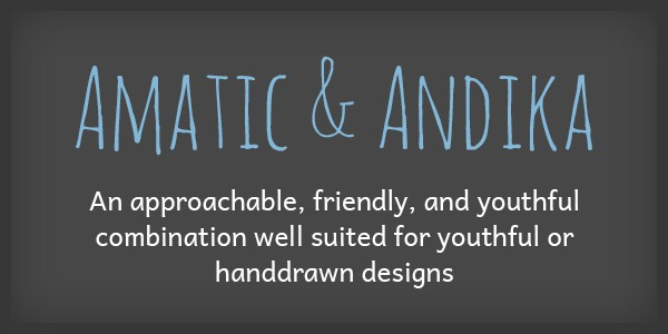 Lettertype website Amatic en Andika