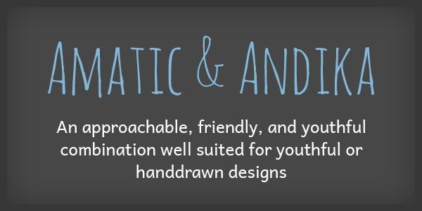 Lettertype website Amatic en Andika