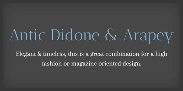 Lettertype website Antic Didone en Arapey