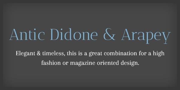 Lettertype website Antic Didone en Arapey