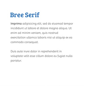 Lettertype website Bree Serif en Imprima