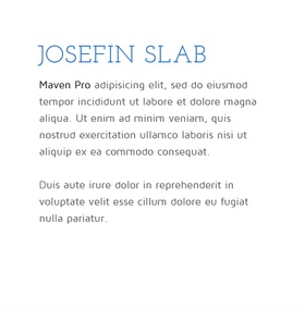 Lettertype website Josefin Slab en Maven Pro