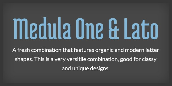 Lettertype website Medula One en Lato