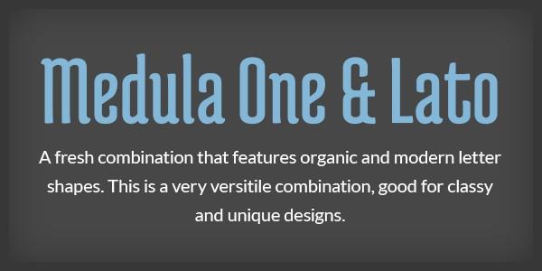 Lettertype website Medula One en Lato