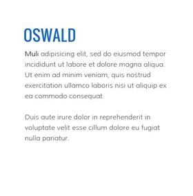 Lettertype website Oswald en Muli