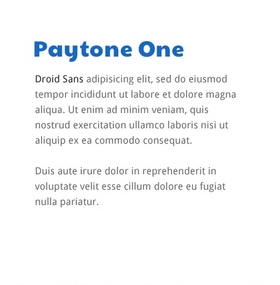 Lettertype website Paytone One en Droid Sans