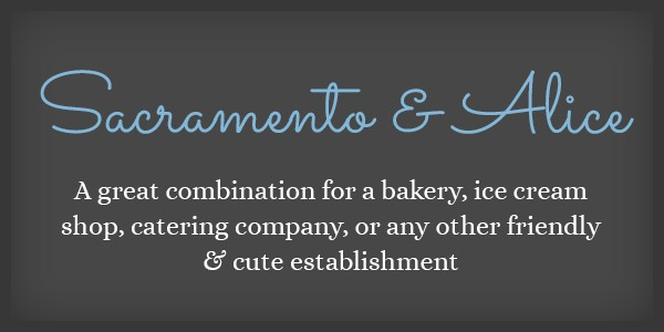 Lettertype website Sacramento en Alice