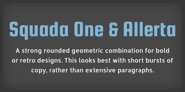 Lettertype website Squada One en Allerta