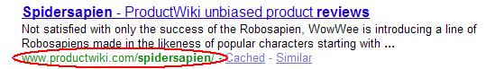 Weinig informatieve URL zoekresultaat