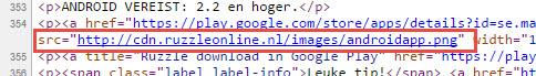 CDN afbeeldinglink in HTML broncode