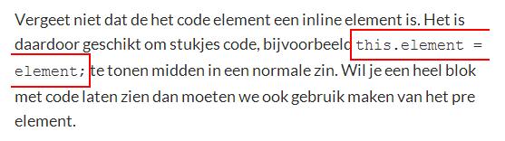 Code inline element