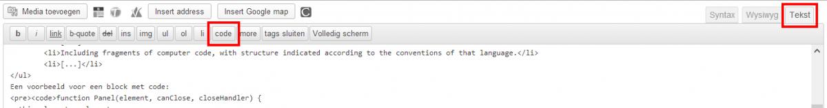 De code knop in de teksteditor