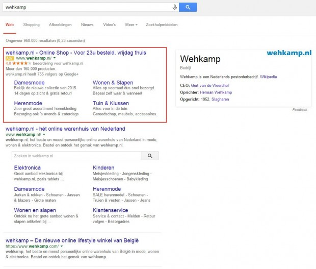 Sterren in Google Adwords advertentie van Google
