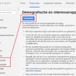 Google Analytics Demografische en interesserapporten inschakelen