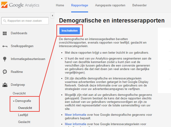 Google Analytics Demografische en interesserapporten inschakelen