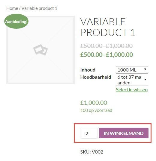 In winkelwagen button WooCommerce productpagina