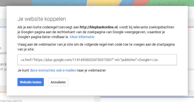 Je website koppelen aan je Google+ pagina