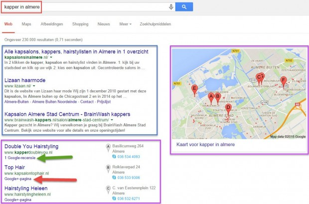 Lokale zoekresultaten Google linken naar recensies of Google+ pagina zonder recensies
