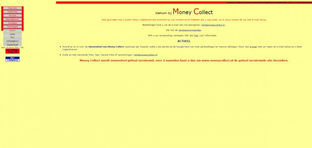 MoneyCollect.nl, de homepage van mijn eerste website in 2004