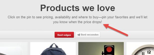 Pinterest waarschuwt bij prijsdaling Product Pin