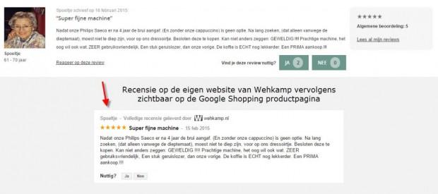 Recensie eigen website zichtbaar op productpagina Google Shopping