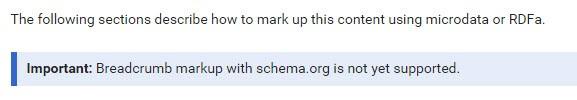 Schema.org voor breadcrumbs werkt nog niet