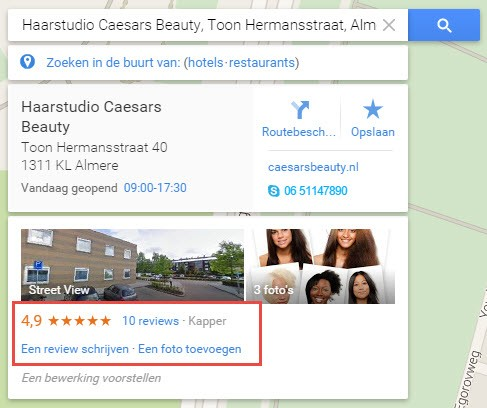 Sterren Google Mijn Bedrijf pagina zichtbaar in Google maps