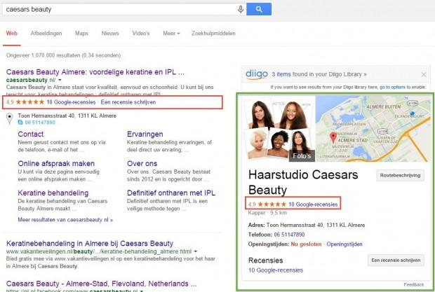 Google+ pagina uitgelicht en sterren zichtbaar in gratis zoekresultaat