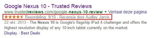 Sterren in Google voor een individuele review