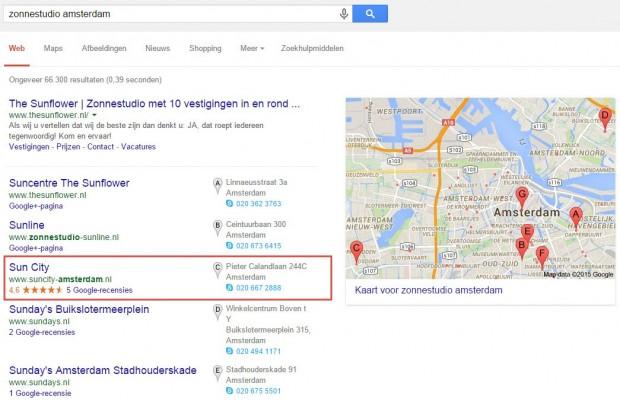 Sterren in lokale zoekresultaten van Google