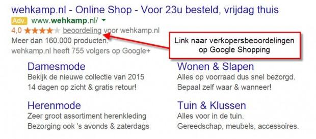 Link naar verkopersbeoordelingen op Google Shopping