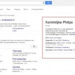 Google Knowledge Graph van Philips